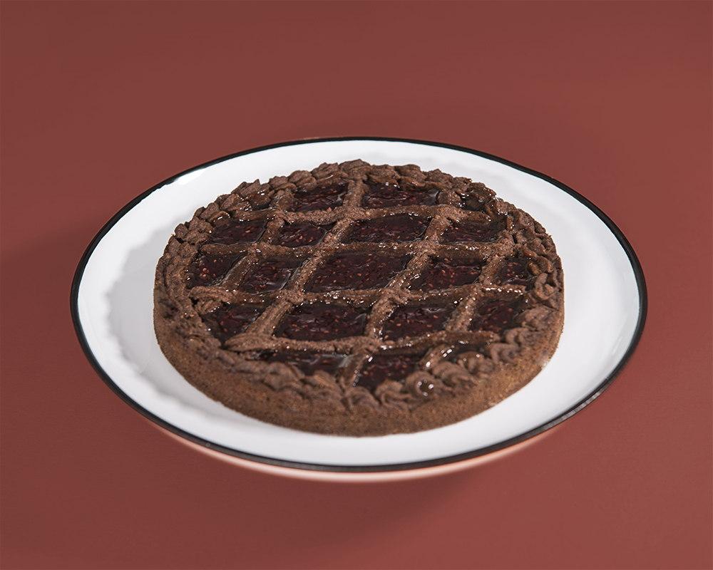 Crostata di frolla montata al cacao e marmellata al lampone