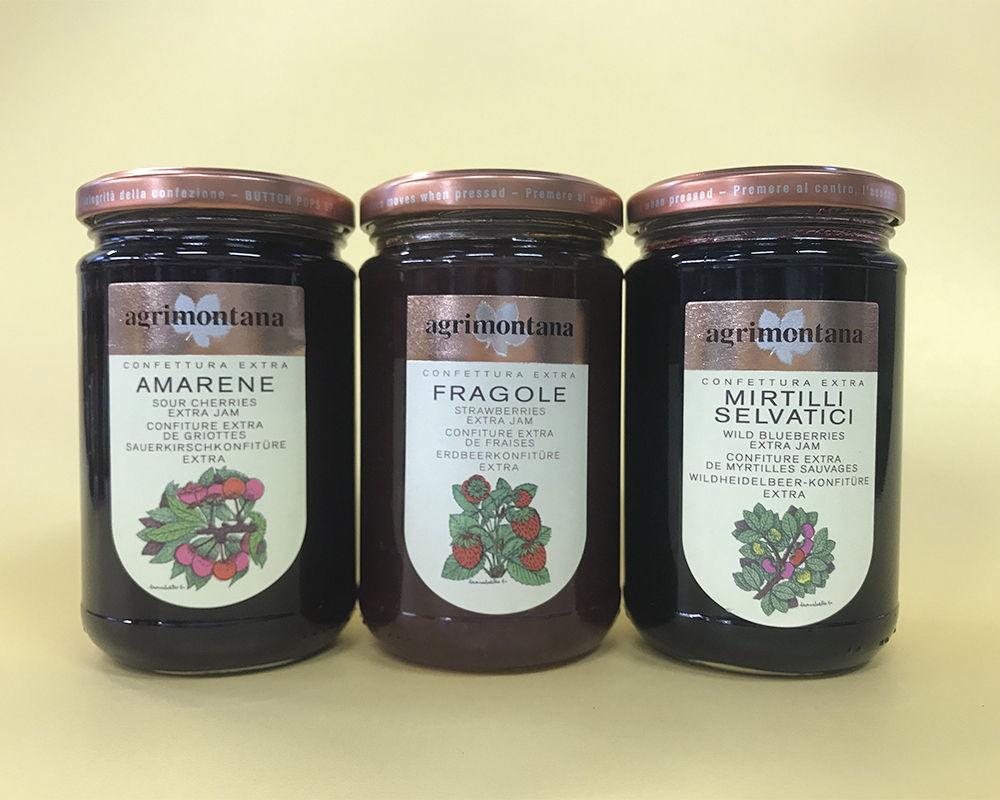 amarene,, fragole e mirtilli selvatici